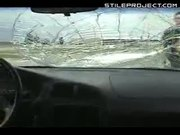 Idiot tries to roll over car and breaks his friends windshield