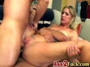Shameless blonde sucks two hard dicks and gets double penetrated