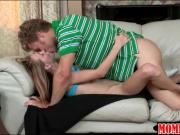 Sultry stepmom joins in on theesome action of horny couple
