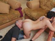 Horny grandpas bangs Sydney's tight pussy