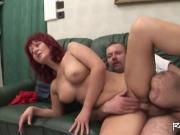 Redhead milf caring naked on one legged man