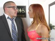Mature Secretary Dani Jensen Gets Licked By Boss