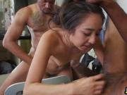 Slutty young Asian tailor gets her tight ass fucked hard by horny black dudes