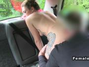 Collegues having sex in their cab in public