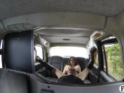 Busty amateur passenger gets ass fucked in the backseat