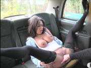 Stunning stripper fucked by fake driver in the backseat