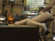 Adorable babe shows off ass and smashed at the pawnshop