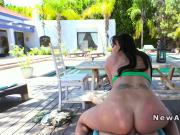 Huge boobs girlfriend anal banged pov in backyard