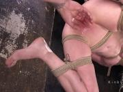 Slim sub gets weighted crotch rope