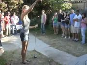 Amazing blonde's skill at golf