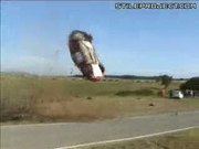 Car crashes and flips over