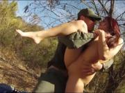 Red head babe sucks off and deeply fucked on the border