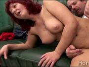 Busty mature caregiver gets her cunt split in twice by a legless perv