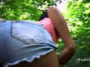Hot teen sucks cock in bushes in public