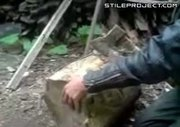 crazy russian cuts his thumb off with an axe!