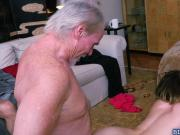 Teen sluts Gigi and Sally fucking with old guys