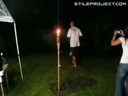 idiot drinks gas and spits it on torch and catches on fire