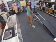 Ebony trainer sells her equipment and fucked at the pawnshop