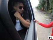 Hitchhiking babe Bella Danger thinks this is a free ride