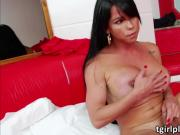 Big boooty shemale Milena twerks and jerks off her lovely dick