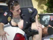 Black guy forced by cops into threesome outdoors