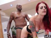 Pale tattooed Tana Lea auditions and rides Lexingtons big black cock
