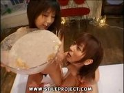 Two Japanese Chicks Puking On Each Other Then Eating Each Other Out