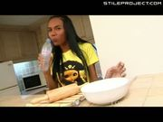 Asian Tranny Plays With Ass On Kitchen Counter & Sucks Own Cock