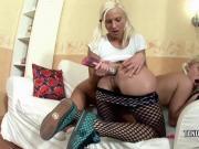 Andrea fucks lesbo Irene with a big dildo