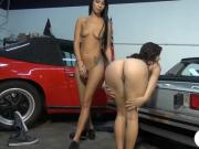 Very slim brunette fucked in the garage for some money