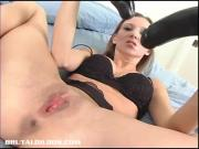 Tiffany filling both holes with brutal dildos