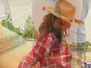 Gabriela Strokes Her Horse