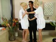 Two busty blonde masseuses amazing threesome with client