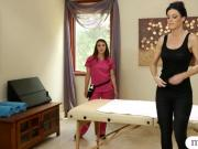 India Summer and Tiffany Doll fondling on massage table