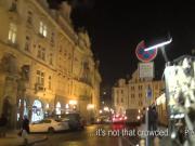 European brunette amateur public bang