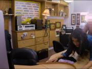 Sexy brunette babe banged by pawn keeper at the pawnshop