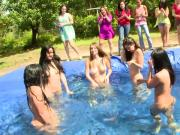 Outdoor teen pool party