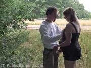 Horny Preggy MILF Blows & Screws Cock In Public