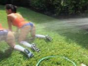Pretty rushes hosed down and make out in the sorority