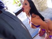 Jasmine Jae masterfully sucks a big stiff black cock