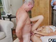 Teen Molly taking shower before banging old guy