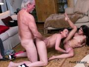 Lascivious Teen Friends Fuck Old Guy Hard