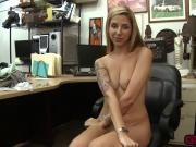 Horny lesbian couple fucks a horny pawn guy in his office