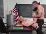 Blonde schoolgirl gets fucked during detention