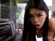Superb hot Asian babe fucked hard by a black man