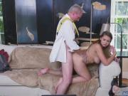 Ivy is down on her knees eagerly giving Duke a blowjob