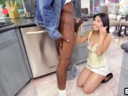 Shy petite Asian babe fucked hard by huge black cocked stud