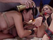 Master rough fucking Asian and blonde slaves