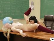 Teacher Dana licking Samantha shaved pussy lesbian