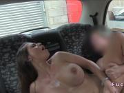 Super brunette with huge boobs fucks in cab